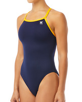 TYR Women Hexa Diamondfit Sport Swimsuit One Piece Navy Gold Size 36 $64