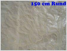 150 cm Ø RUND CREAM BEIGE Vinyl TISCHDECKE SCHUTZDECKE Blumenmotiv Küche Garten