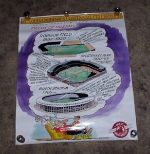 1992 Cardinals Busch Stadium Field of Dreams Centennial Celebration Poster