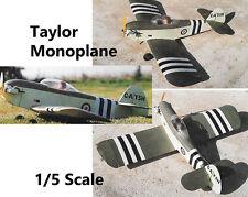 "Model Airplane Plans (RC): Taylor J.T.1 Monoplane 46""ws 1/5 Scale .20-.35 4-ch"