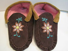 GORGEOUS, NATIVE AMERICAN MOCCASINS, Adult, 10 INCHES, BEADED METALIC FLOWER