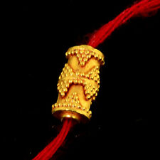 18k Solid Yellow Gold 11mm Fancy Granulation Barrel Spacer Finding Bead