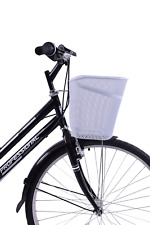 STRONG FRONT FITTING BIKE SHOPPING BASKET STEEL WIRE MESH WITH SUPPORT WHITE
