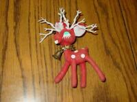 VINTAGE Red REINDEER Figure - ESTATE Find - Unique Christmas Decor JAPAN - 5.5""
