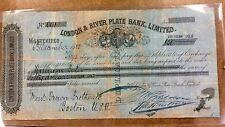{BJSTAMPS} 1880 London & River Plate Bank, Ltd  Gold Money order - Check SCARCE