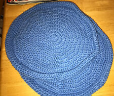 Handmade Crochet Round Cat Bed Blue Set Of 2