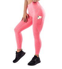 Mava High Waist Yoga Pants Pockets Fitness Workout Leggings Women Orange Small