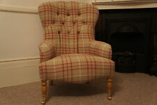 """Button Back """"Bampton"""" Armchair Upholstered In Laura Ashley keynes cranberry"""
