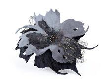 Felted brooch in Gothic style, Victorian flower brooch, black & grey Goth brooch