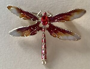 DRAGONFLY BROOCH PIN - Red & Gold Enamel, Crystals, Gold-tone