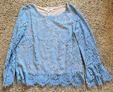 NWT Rose and Olive Lace Wedding Top Vintage Blue Large