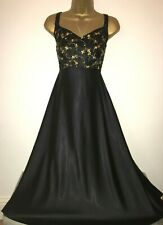 BEAUTIFUL MARKS AND SPENCER GLOSSY SATIN BLACK NIGHT DRESS/NEGLIGEE SIZE 16