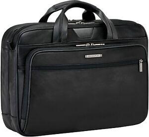 Briggs & Riley @Work Medium Leather Briefcase Black Laptop Bag KL200-4