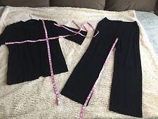 SZ 1 / M Short Chico's Travelers Black Outfit Jacket & Pants Duster Set