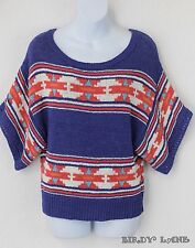 American Eagle Colorful Boxy Sweater Geometric Southwest Navajo Aztec Tribal Med