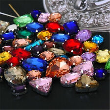 15pcs Mixed Size Sew On Glow Rhinestones Mixed Color Mixed Shape Glass Crystal