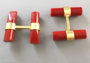 VINTAGE RED CORAL GILT CUFF LINKS WITH FITTED CASE