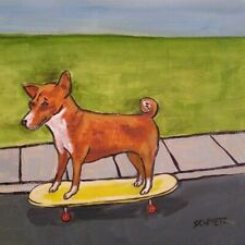 basenji skateboarding picture animal dog art tile gift