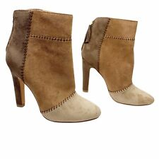 NEW Joie Size 36 6 Briona Leather Boots Brown Tan Patchwork Pointed Toe Booties