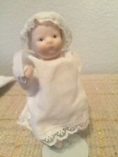"Vintage 4.5"" Cute Bisque Cloth Baby Doll"