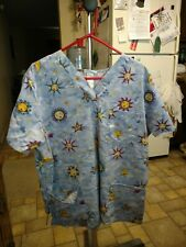 Scrub Top Blue With Sun Design Size Xl