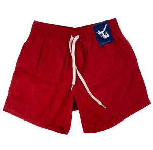 NEW Chubbies 5.5'' Swim Trunks Bathing Suit Solid Red Made in USA Mens Size S
