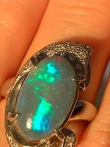 Stunning Large Black opal & diamonds ring in platinum, not gold