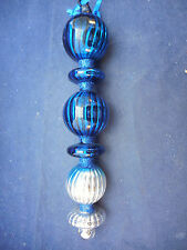 LONG GLASS ICICLE ORNAMENT BLUE AND SILVER 8""