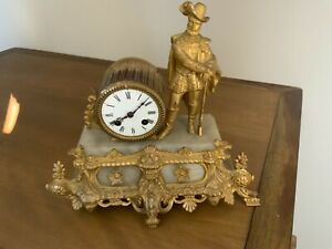RARE ANTIQUE 1880s JAPY FRERES 8 DAY PORCELAIN BRASS SOLDIER WITH RIFLE CLOCK