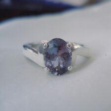 Oval Bi Colour Tanzanite Solitaire Sterling Silver Ring