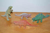 "Vintage FLOCKED DINOSAUR Toy Lot SOMA 1985 & Glow In The Dark 5"" Retro 80's"