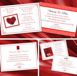 Personalised Ruby 40th Wedding Anniversary Invitations Invites