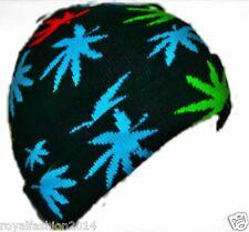 New Ladies Mens Unisex Leaf  Weed Cannabis  Marijuana Weed Maple Beanie Ski Hat