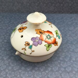 TUSCAN CHINA 1930s ART DECO POT LID - FLORAL & GREEN BIRDS - REPLACEMENT SPARE