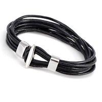 Fashion Unisex Black Brown Fawn Leather Cuff Wristband Bracelets Gifts 050USANNA