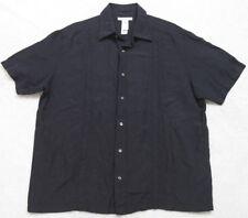 Claiborne Luxe Black Dress Shirt Short Sleeve XL ButtonUp Silk Linen Extra Large