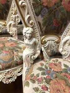 SILIK ITALY ROCOCO BAROQUE ANGEL FIGURAL LOUIS XV RENAISSANCE 6 CHAIRS