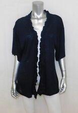 BOBEAU NWT Black Burnout Short Sleeve Ruffle Open Front Cardigan Sweater sz M