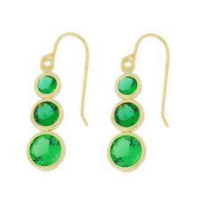 14Kt Yellow Gold Emerald Round Bezel Dangle Earrings