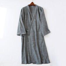 Gray Men Kimono Pajamas Cotton Japanese Bathrobe Robe Gown Nightwear Home Xing1