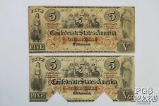 1861 $5 Confederate States T31 Richmond Virginia Civil War Currency 2 Notes19975