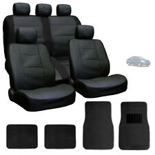 FOR NISSAN NEW PREMIUM BREATHABLE BLACK SYN LEATHER CAR SEAT COVERS MATS SET