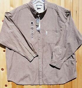 Columbia Men's Size 3XB Big Wiggins Pass Plaid Tan Long Sleeve Button Down Shirt