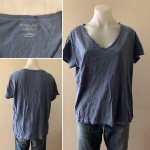 FRENCH Designer MAJESTIC Denim Blue Short Sleeve COTTON VNeck Top Size L RRP$120