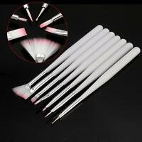 7 PCS Acrylic Nail Art Design Drawing Liner Painting Pen Tool Brush Set - White