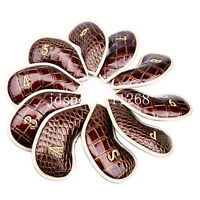 10Pcs PU Leather Golf Iron Head covers For Ping Callaway Taylormade