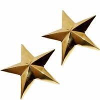 "PAIR OF 1.75"" HARLEY PANHEAD KNUCKLEHEAD BRASS ORNAMENT TRIM STARS DIY BAG STARS"