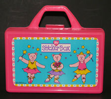 Pink Teddy Bear Ballerina Craft BOX Sticker Crayon Pencil Lunch Princess EUC