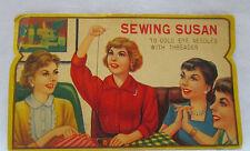 Vintage Sewing Susan Needle Book Gold Eye Needles with Threader Ladies Sew