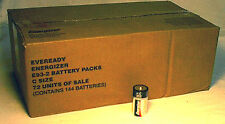 """Case Lot of 144 Eveready Energizer """"C"""" Batteries(72 Pairs!)"""